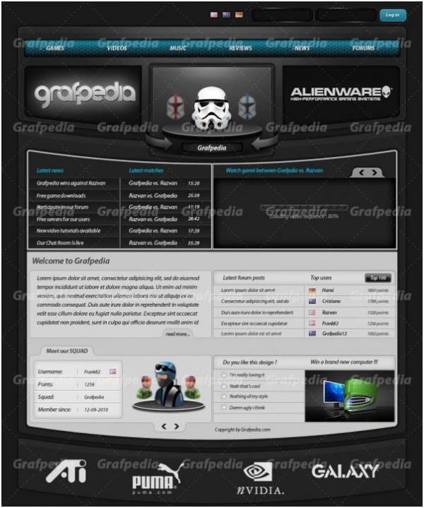 макет игрового сайта в фотошоп